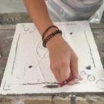 Erstellung eines Sgraffitos im workshop