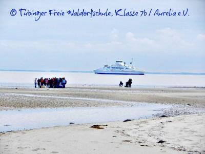 Wattenmeer auf Sylt mit Schülern und einem Schiff auf der Nordsee