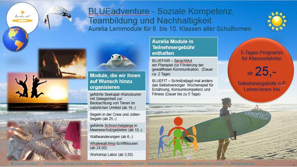 Flyer Klassenfahrten Programm für 8. bis 10. Klasse