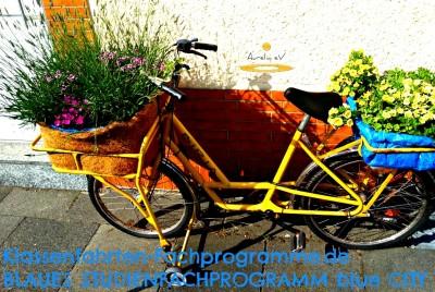 Fahrrad mit eingebauen Blumenkästen
